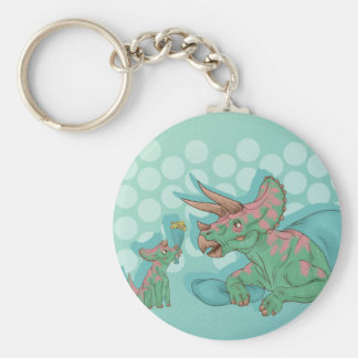 Triceratops Giving Flowers Keychain