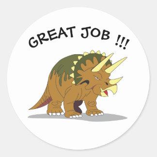 Triceratops GREAT JOB stickers!! Round Sticker