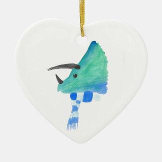 Triceratops In A Scarf Ceramic Heart Ornament