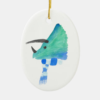 Triceratops In A Scarf Ceramic Oval Ornament