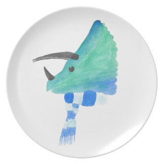 Triceratops In A Scarf Dinner Plate