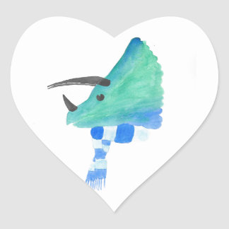 Triceratops In A Scarf Heart Sticker