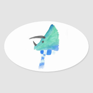 Triceratops In A Scarf Oval Sticker