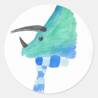 Triceratops In A Scarf Round Sticker