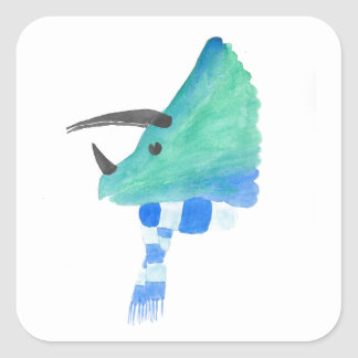 Triceratops In A Scarf Square Sticker