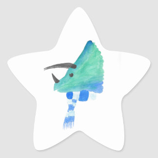 Triceratops In A Scarf Star Sticker