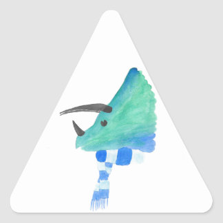 Triceratops In A Scarf Triangle Sticker