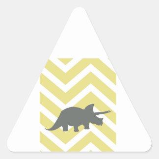 Triceratops on zigzag chevron - Yellow Triangle Sticker