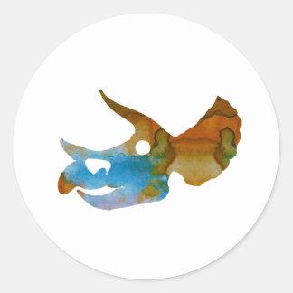 Triceratops Skull Round Sticker