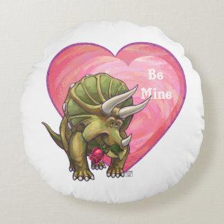 Triceratops Valentine's Day Round Pillow