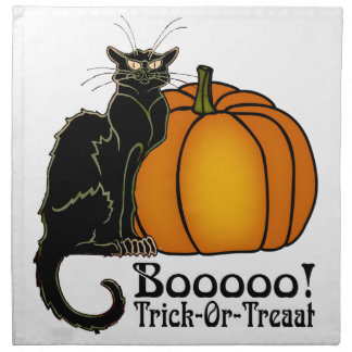 Trick-Or-Treat Art Neouvou Black Cat & Pumpkin Cloth Napkins