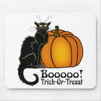 Trick-Or-Treat Art Neouvou Black Cat & Pumpkin Mouse Pad