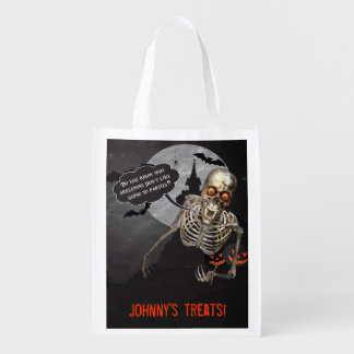 Trick or Treat Bag with Joke Telling Skeleton Reusable Grocery Bag