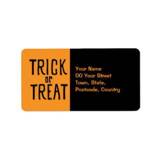 Trick or Treat black Address Label