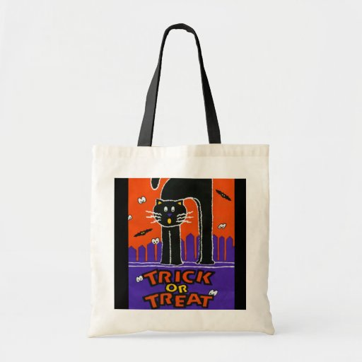 TRICK OR TREAT BLACK KITTEN HALLOWEEN TOTE BAGS