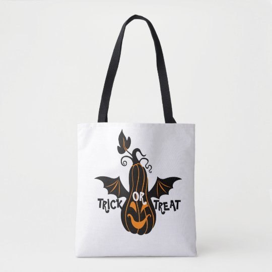 Trick Or Treat black & Orange Halloween Pumpkin Tote Bag