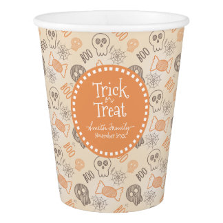 Trick or Treat Candy Boo Spiders and Skulls Paper Cup