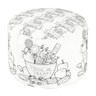 Trick Or Treat Candy Line Art Design Pouf