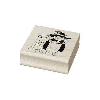 Trick or Treat Cats art stamp