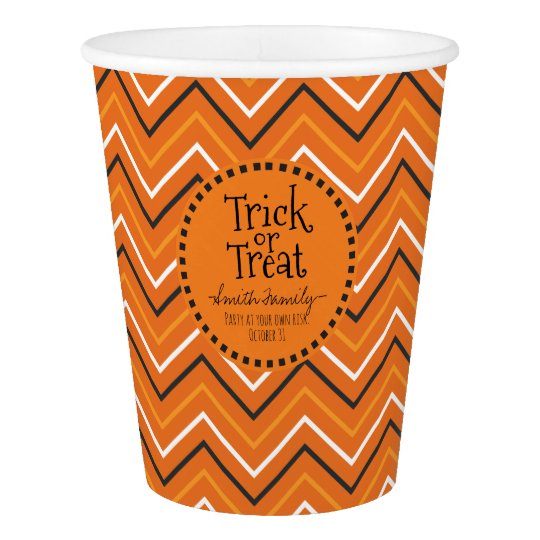 Trick or Treat. Chevron. Paper Cup