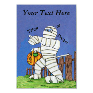 Trick or Treat Cute Cartoon Mummy Halloween Magnetic Invitations