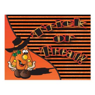 Trick or Treat Cute Cartoon Pumpkin | Halloween Postcard