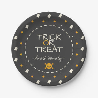 Trick or Treat. Cute Ghost Pumpkin Polka Dots. Paper Plate
