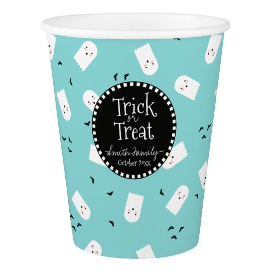 Trick or Treat Cute Ghosts and Bats Paper Cup