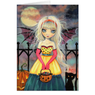Trick or Treat Cute Gothic Fairy Halloween Art Greeting Card