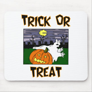 Trick Or Treat Ghost And Pumpkin In Graveyard Mouse Pad