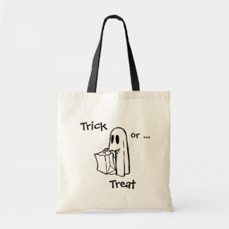 Trick or Treat Ghost Canvas Tote Budget Tote Bag