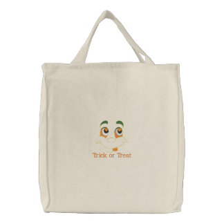 Trick or Treat ghost face embroidered tote bag