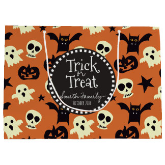 Trick or Treat. Ghosts Bones and Skulls. Large Gift Bag