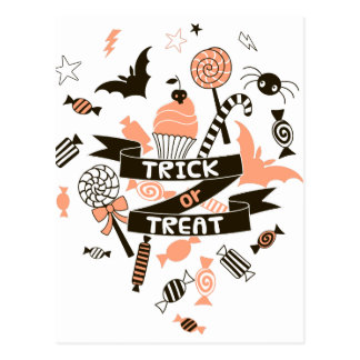 Trick or Treat Goodies Design Postcard