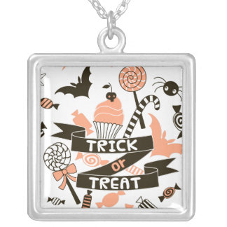 Trick or Treat Goodies Design Silver Plated Necklace