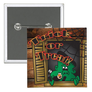 Trick or Treat Green Halloween Frankenstein 2 Inch Square Button