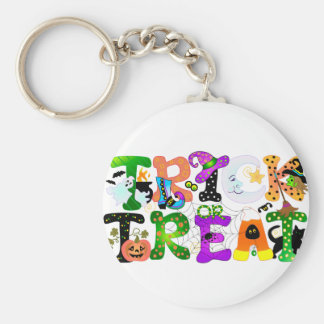Trick or Treat Greeting Basic Round Button Keychain
