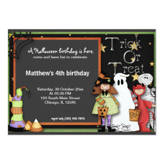 "Trick or Treat Halloween Birthday 5"" X 7"" Invitation Card"