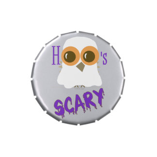 Trick or Treat Halloween Candy Tins Cute Owl Ghost