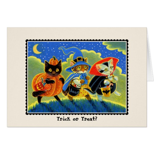 Trick or Treat? Halloween Cat Notecard
