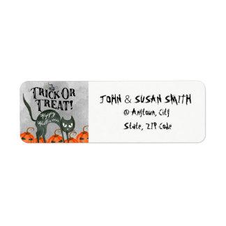 trick or treat halloween cat return address labels