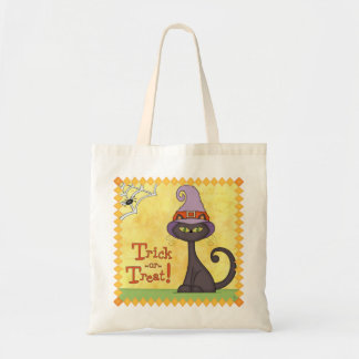 Trick or Treat Halloween Cat Tote Budget Tote Bag