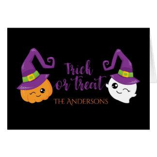 Trick or Treat Halloween Ghost & Jack-o-Lantern Card