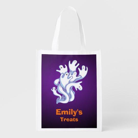 Trick or Treat Halloween Halloween Ghosts Flying Reusable Grocery Bag