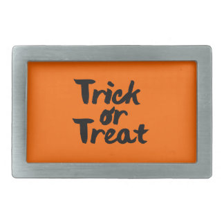 Trick or Treat Halloween Orange Black Brush Stroke Belt Buckles