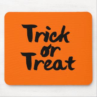 Trick or Treat Halloween Orange Black Brush Stroke Mouse Pad