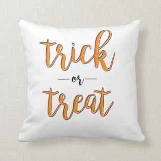 trick or treat halloween orange black simple throw pillow