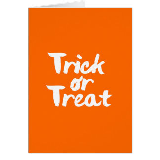 Trick or Treat Halloween Orange White Brush Stroke Card