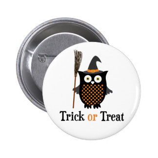 Trick or Treat Halloween owl 2 Inch Round Button