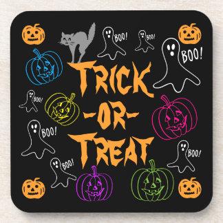 Trick-or-Treat Halloween Pumpkin Ghost Cat Coaster